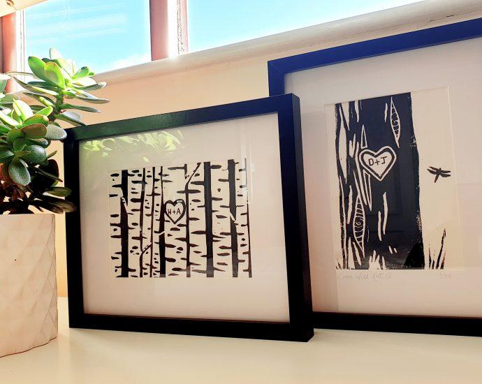 tree trunk lino cut prints Ever Wild Art Co