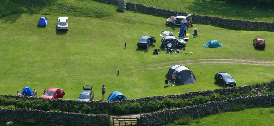Campsite with tents in a field